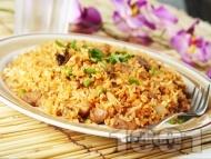 Бърз пържен ориз със свинско месо и грах по тайландски